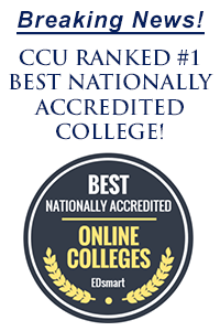 CCU ranked number 1 best nationally accredited college - Edsmart badge