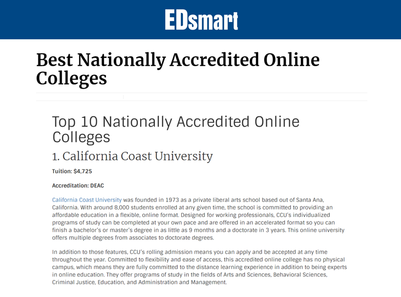 edsmart org best nationally accredited online colleges lists california coast university first writeup