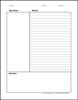 sample of The Cornell Method template