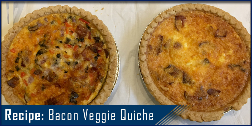 Picture of quiche with bacon and veggies